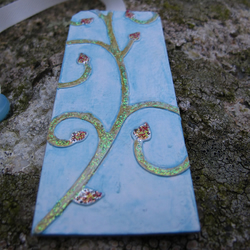 Curly Vine Bookmark Blue, Green, Gold