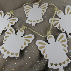 Angel Bunting, Indoor Christmas Decoration, White and Gold