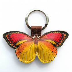 Leather keyring  bag charm - Little yellow Butterfly