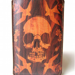 Leather iPhone (ALL) iTouch (ALL) case - Wood Skull