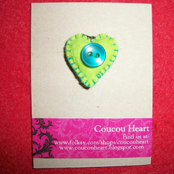 Felt Button Heart Charm