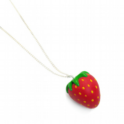 Large strawberry charm necklace