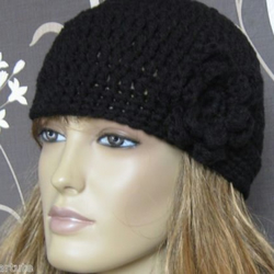 LADIES CHUNKY HAND CROCHETED BEANIE HAT WITH FLOWER