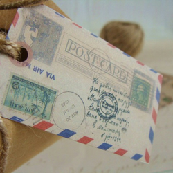 Distressed Vintage Style Airmail Envelope Luxury Gift Tags with Twine Ties