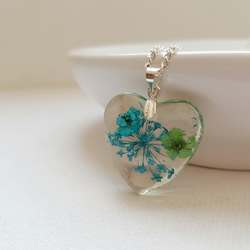 Real Turquoise Flowers Heart Necklace