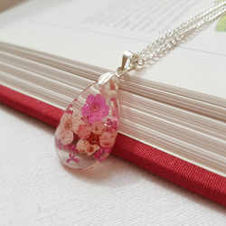 Real Pink Flowers Teardrop Necklace