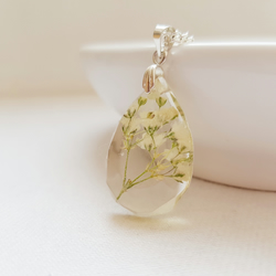 Real Gypsophilia Teardrop Necklace