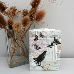 Map design fabric covered notebook.