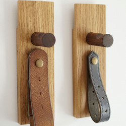 Oak, walnut wood and reclaimed leather loop coat peg free delivery