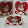 Christmas cards – fabric hearts (pack of 3)