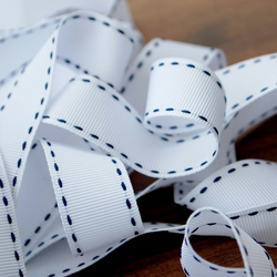 SALE!  Berisfords Stitch Grosgrain Ribbon, 25mm width White with navy stitch