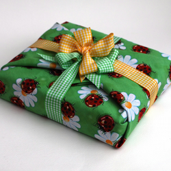 Fabric Gift Wrap, Ladybirds with Gingham Ribbon