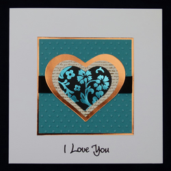 Beautiful Turquoise and Copper Hearts Valentine's Card