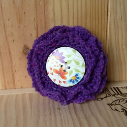 Purple hand knitted  flower brooch