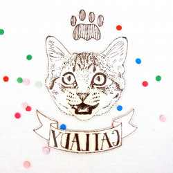 Cat lady temporary tattoo kitten fun illustration