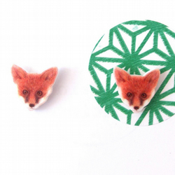 Fox cub earrings, woodland, animal, cute, studs, illustration,