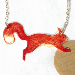 Red Squirrel necklace, woodland, jewellery, illustration,