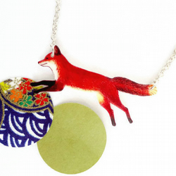 Fox necklace, animal, jewellery, illustrative, countryside, red