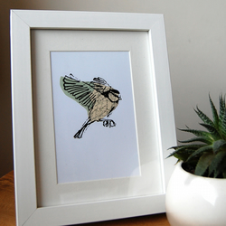 Small original collage screen print of blue tit