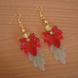 Red, Green and Gold Coloured Dangly Leaf Earrings