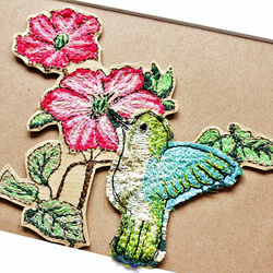 hummingbird textile art mount