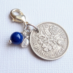 Something Old or Borrowed Wedding Charm - Vintage Lucky Sixpence Bridal Gift