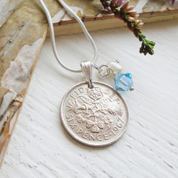 50th Birthday Gift - 1967 Lucky Sixpence Necklace Sterling Silver