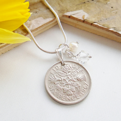50th Birthday Gift - 1967 Sixpence Necklace - April Birthstone