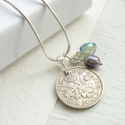 60th Birthday Gift - 1957 Sixpence Necklace - 60th Wedding Anniversary