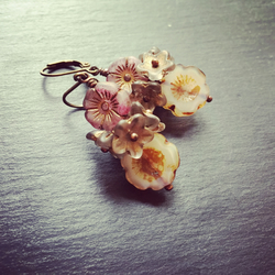Czech Floral Cluster Earrings Vintage Style Pinks