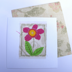 Embroidered floral card. Made from reclaimed scraps of fabric with envelope