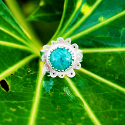 Rainforest Flower --- Sterling Silver & Amazonite Ring