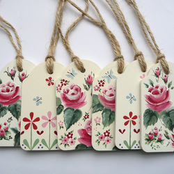 vintage style rose gift tag