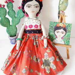 Frida Kahlo doll, textile doll with costume, painting, parrot and cactus.