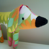 Retro Dog Toy, Pocket Puppy in Vintage 1970's Green Pop Flower Fabric, Twig Legs