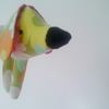 Retro Dog Toy, Pocket Puppy Plush in Vintage 1970's Green Pop Flower Fabric