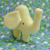 Small Elephant Soft Toy in Pale Lemon Yellow Fleece, Handmade Toy Elephant