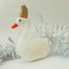 Felt Swan Hand Sewn Christmas Decoration, White with Rose Gold Crown, Swan Decor