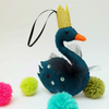 Dark Teal Swan Christmas Ornament, Wool Felt with Gold Crown, Gothic