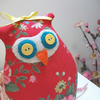 Lavender Scented Fabric Owl, in Red Folk Flowers, Retro Room Decor