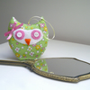 Lavender Filled Owl in Lovely Green Flower 1930's Repro Print Cotton Fabric