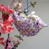 Lavender Bird Scented Sachet  Purple and Cream Ditsy Flowers Fabric