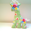 SALE Retro Giraffe Soft Toy, Apple Green and Bright Flowers Fabric