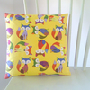 Retro Yellow Fox Cushion, Small Complete Cushion for a Nursery or Child Bedroom