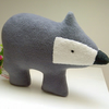British Badger Soft Toy in Grey Fleece, Woodland Animal