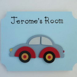 Boy's Hand Painted Wooden Personalised 3D Car Door Plaque