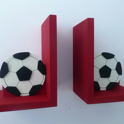 Hand Painted Wooden Red England Football Bookends.