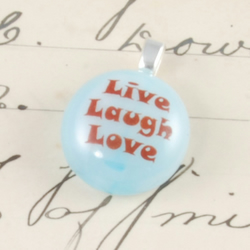 live laugh love - tiny fused glass inspirational pendant