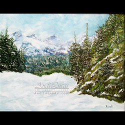 "Signed Giclee Fine Art Print Winter Snow Forest Landscape 10"" x 8"""