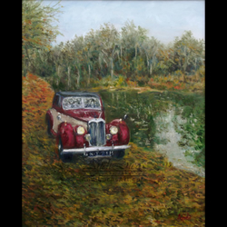 "Signed Giclee Fine Art Print Vintage Riley Car 8"" x 10"""